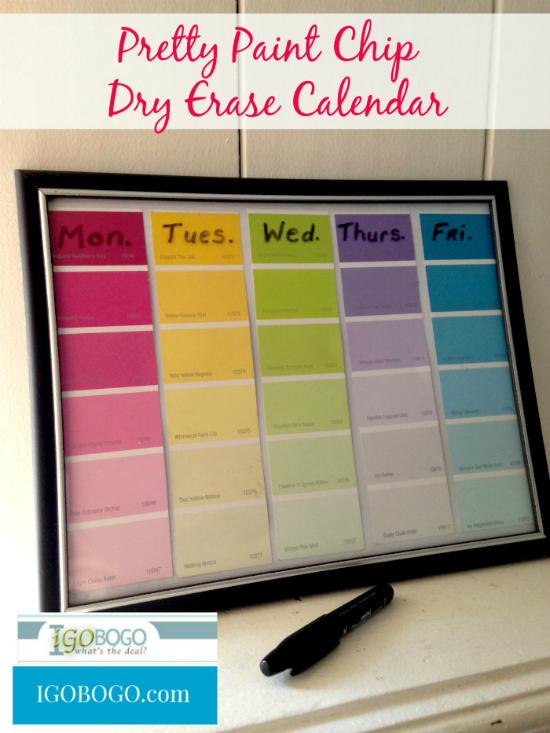Pretty Paint Chip Calendar